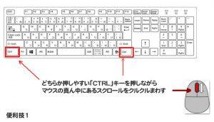 キーボードで文字サイズを変更